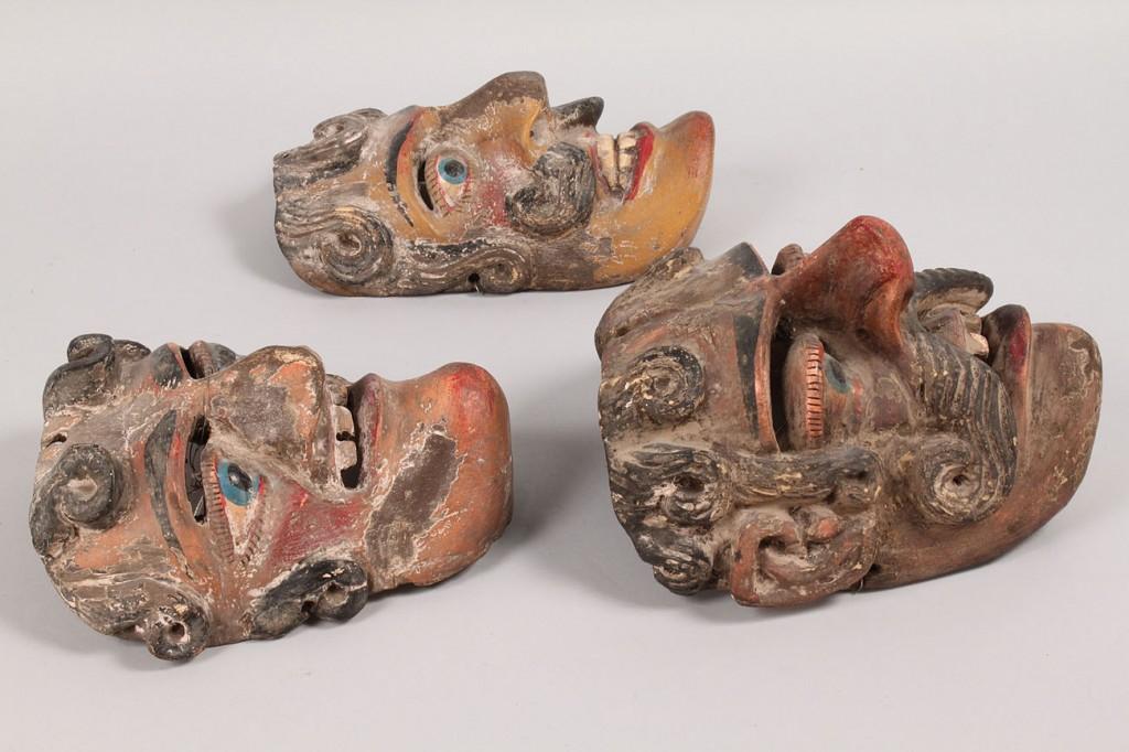 Lot 504: Lot of 3 Mexican Folk Art Dance Masks, male human