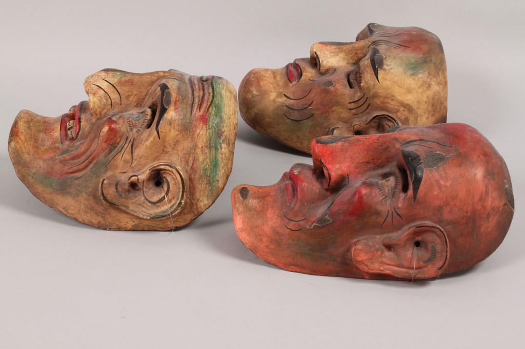 Lot 506: 3 Mexican Folk Art Viejo (old man) Dance Masks, 3