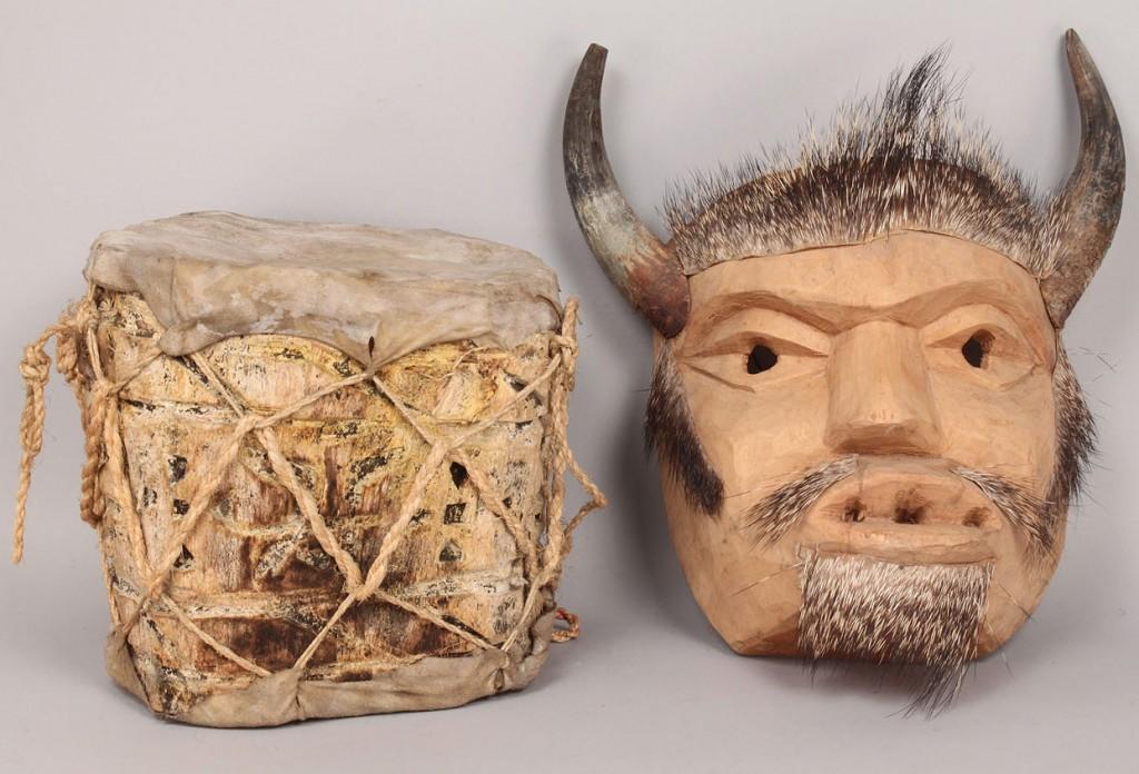 Lot 507: Mexican Folk Art mask and drum