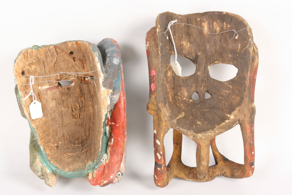 "Lot 508: Pr Mexican Folk Art ""Mother"" masks for Snake dance"