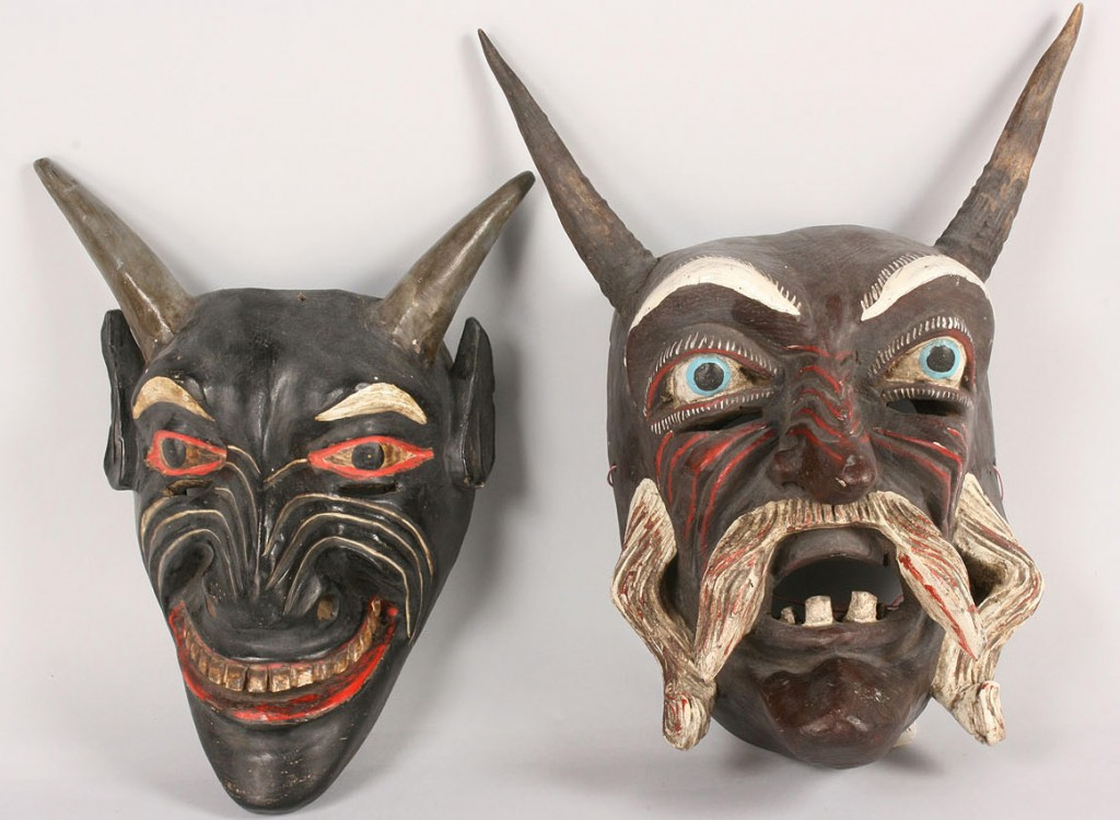 Lot 509: Pair of Mexican Folk Art Diablo masks, Black Devil