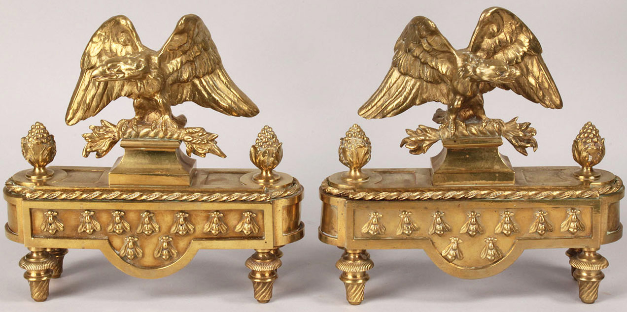 50: Brass eagle fireplace chenets, 19th c.