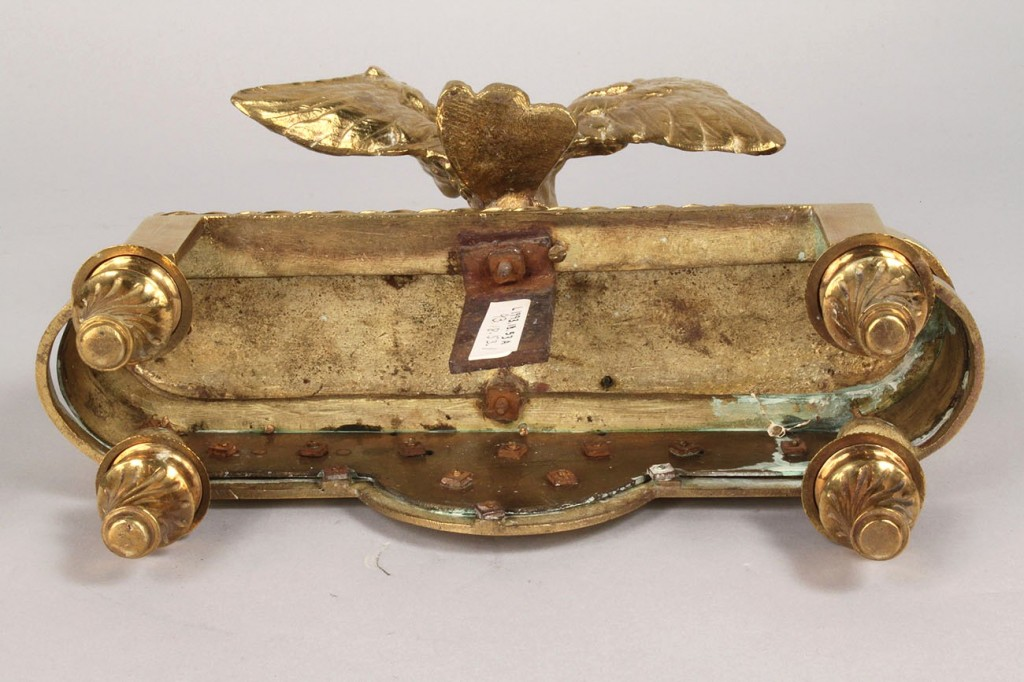 Lot 50: Brass eagle fireplace chenets, 19th c.