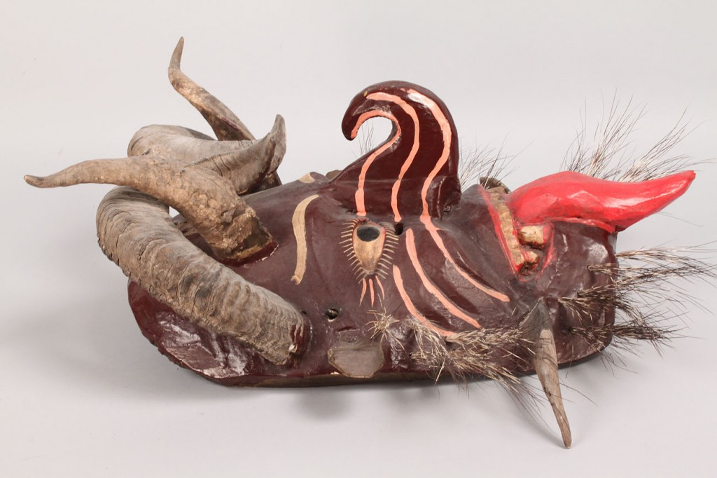 Lot 510: Mexican Folk Art Diablo mask, Large Devil Form