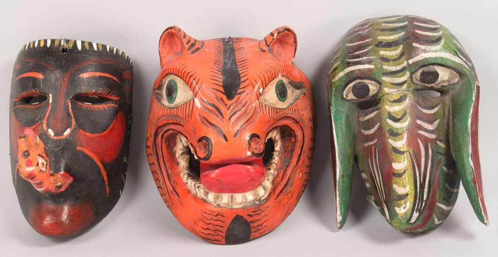 Lot 511: Lot of 3 Mexican Folk Art Dance Masks