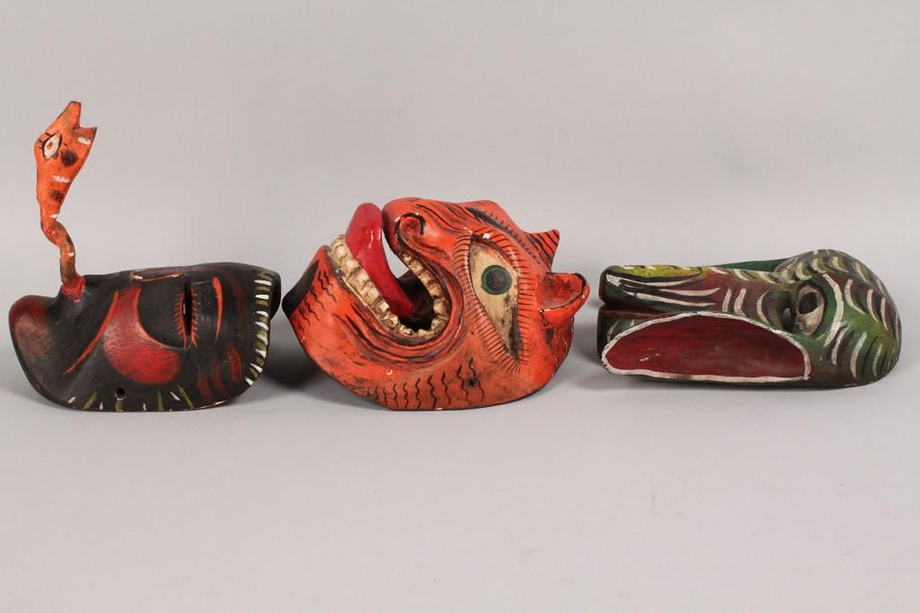 Lot 511: Lot of 3 Mexican Folk Art Dance Masks