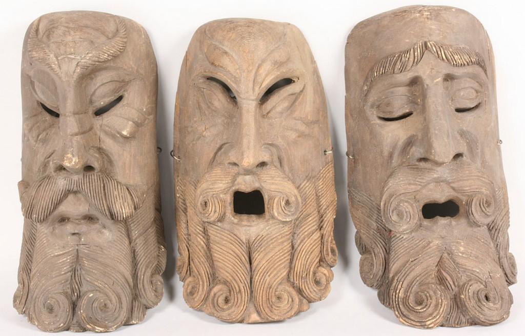 Lot 512: Lot of 3 Mexican Folk Art Moor masks