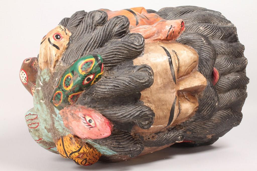 Lot 513: Mexican Folk Art Helmet, Four Faces