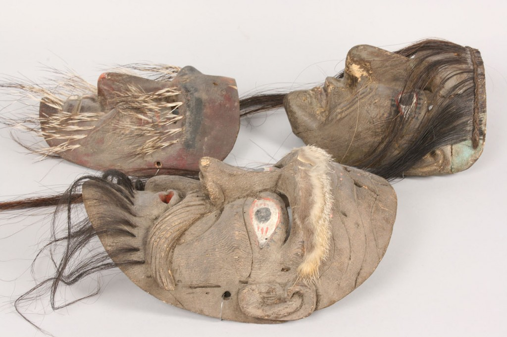 Lot 514: 3 Mexican Folk Art masks with gray paint