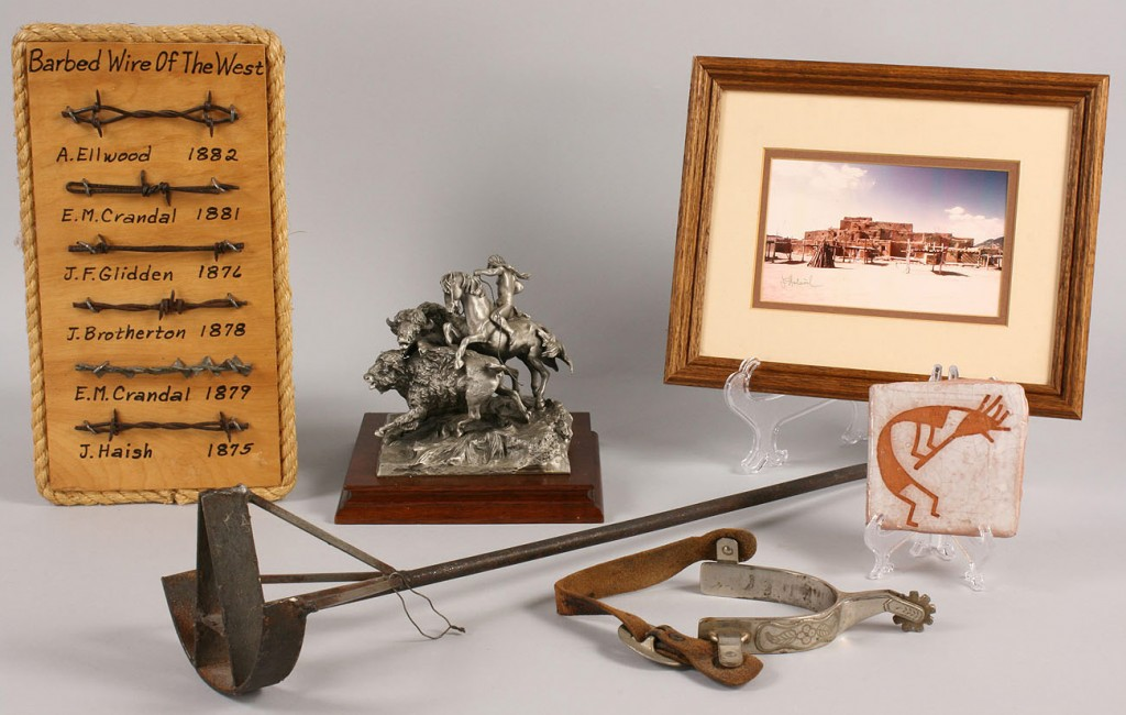 "Lot 518: ""Rocking A' Branding Iron; spur; Taos photo; Polla"