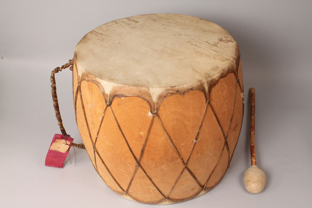 Lot 519: Southwest Native American Drum & Beater, 1964, 1st