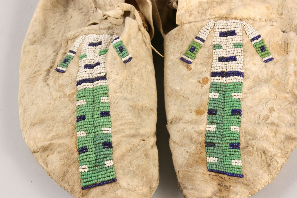 Lot 520: Native American Wall Hanging, pair of mocassins
