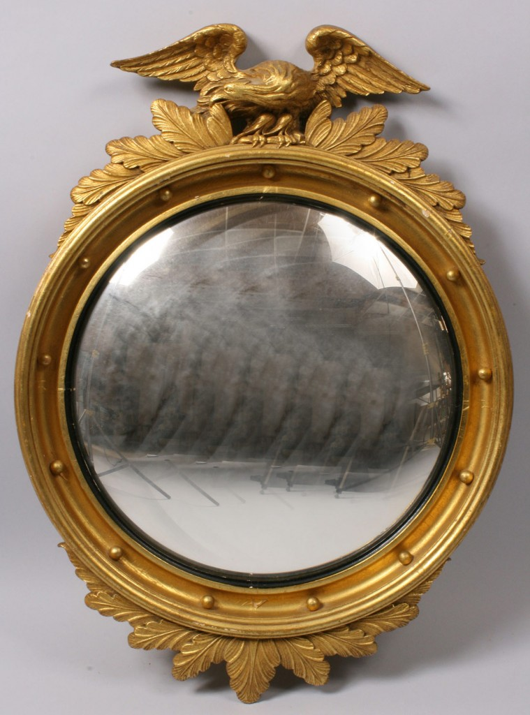 Lot 523: Two Federal Style Mirrors & Brass Lamp
