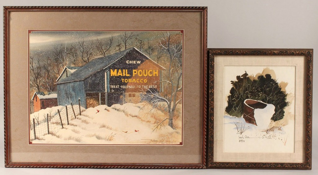 Lot 525: Two Watercolor paintings, one Joseph Orr