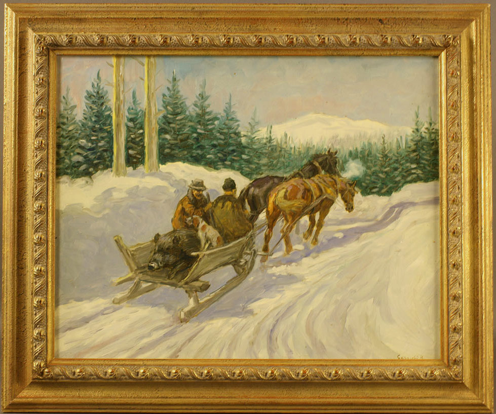 Lot 528: Russian School, Winter Scene, Oil on Canvas