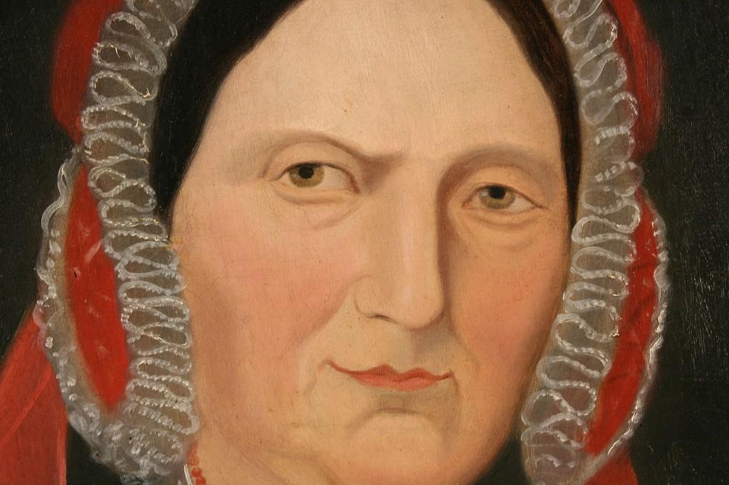 Lot 529: 19th c. Folk art portrait of a woman