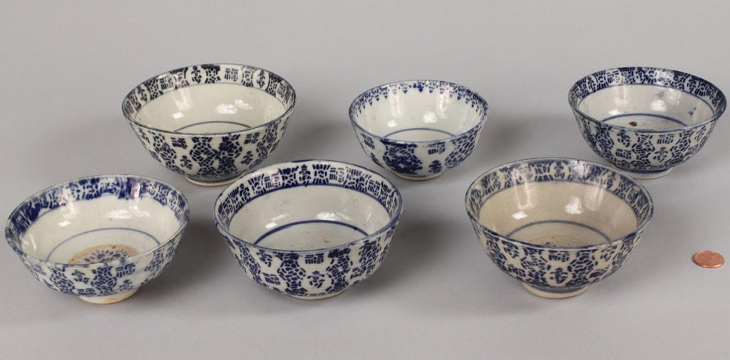 Lot 548: Assembled lot of 6 Korean bowls and Buddha Soapsto