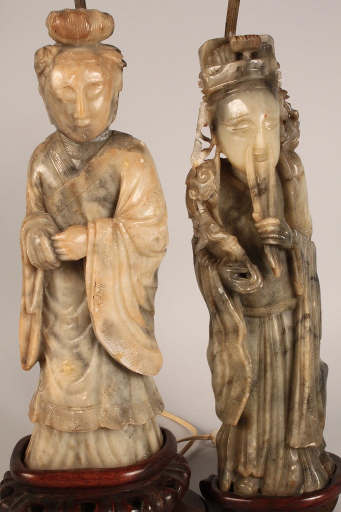 Lot 549: Pair of Carved Soapstone Oriental Lamps