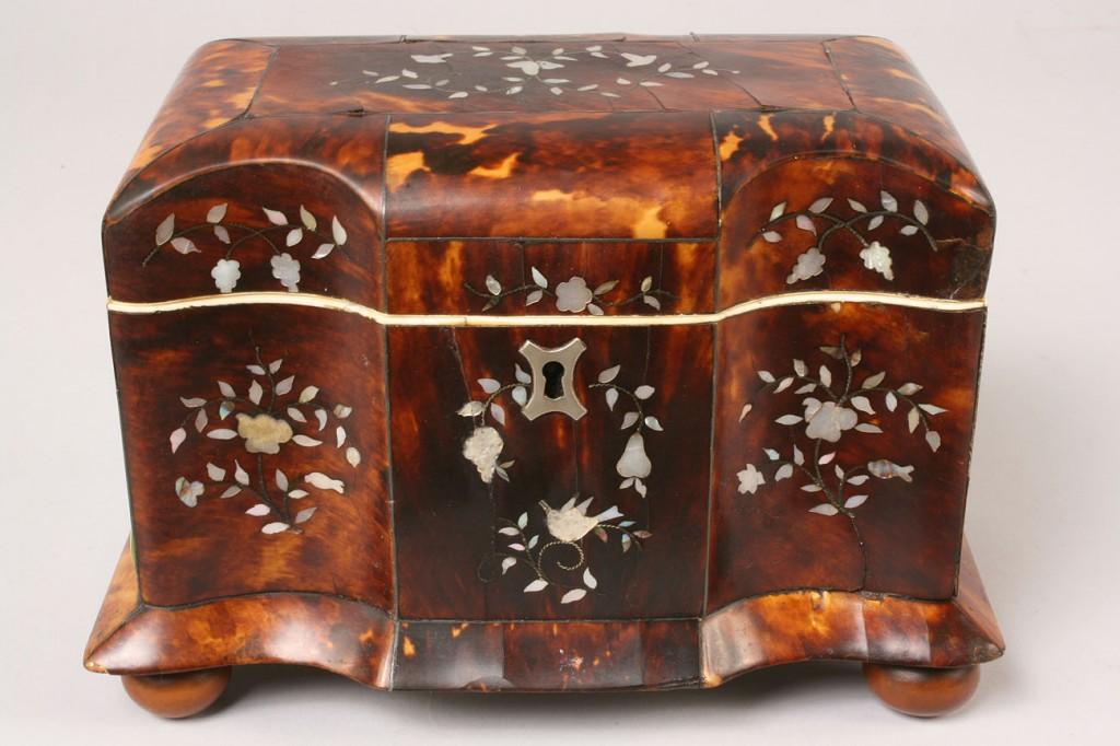 Lot 54: Tortoise Shell Tea Caddy w/ Pearl Inlay