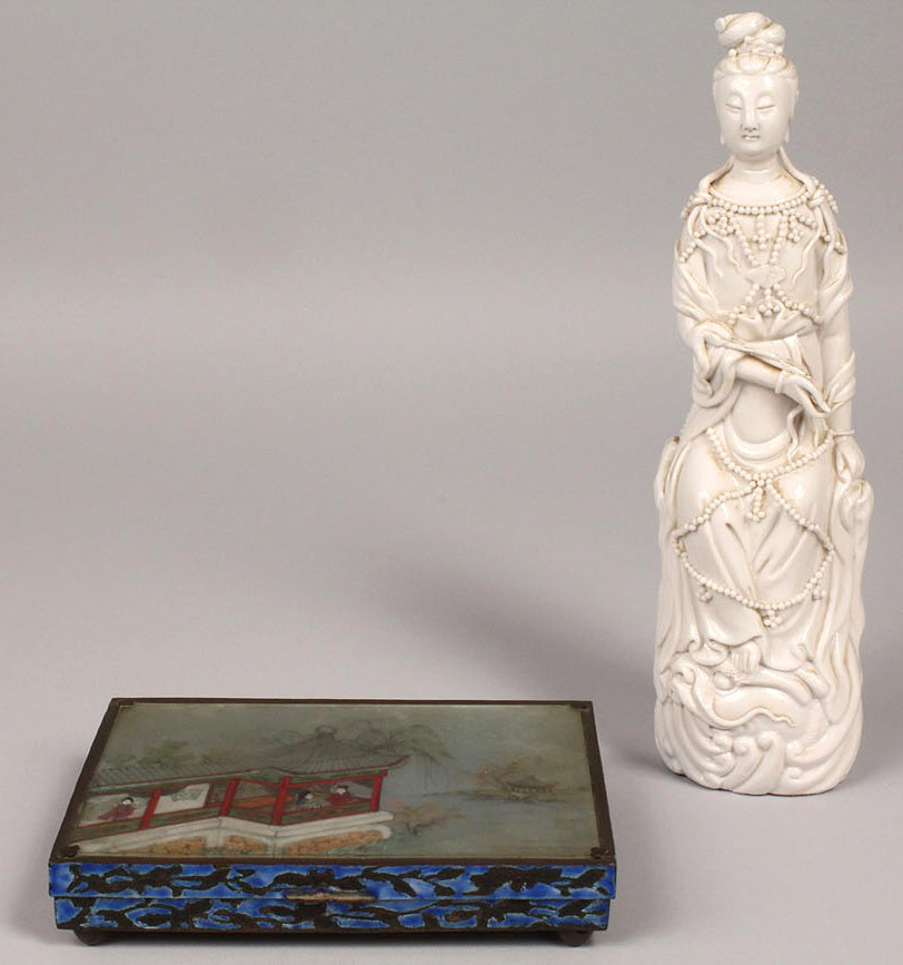 Lot 551: Asian reverse painted Glass Box & Porcelain Figure