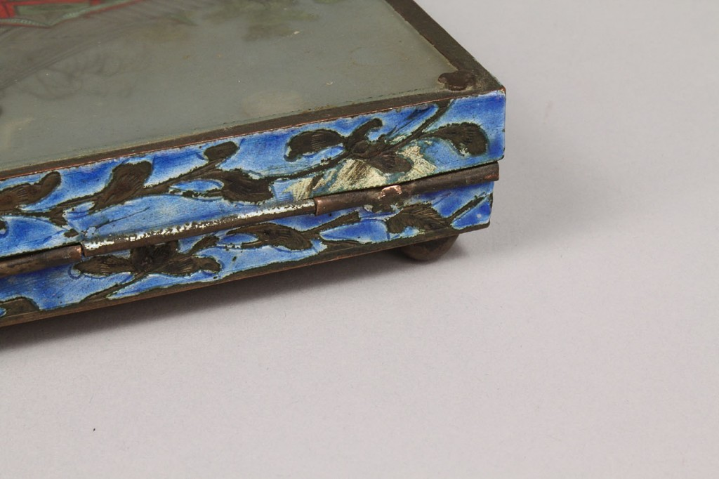 Lot 551: Asian reverse painted Glass Box & Porcelain Figure
