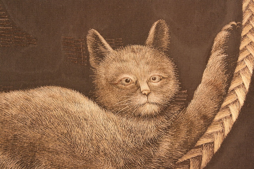 Lot 553: Japanese Silk Embroidery of Cat & 2 Woodblock Prin
