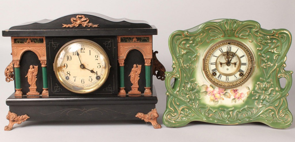 Lot 557: Lot of Two Clocks, Mantle & French Style