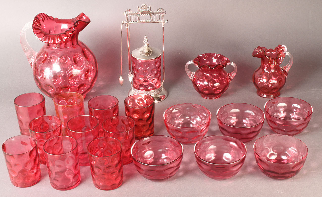 Lot 563: 20 pcs Cranberry Thumbprint Glass