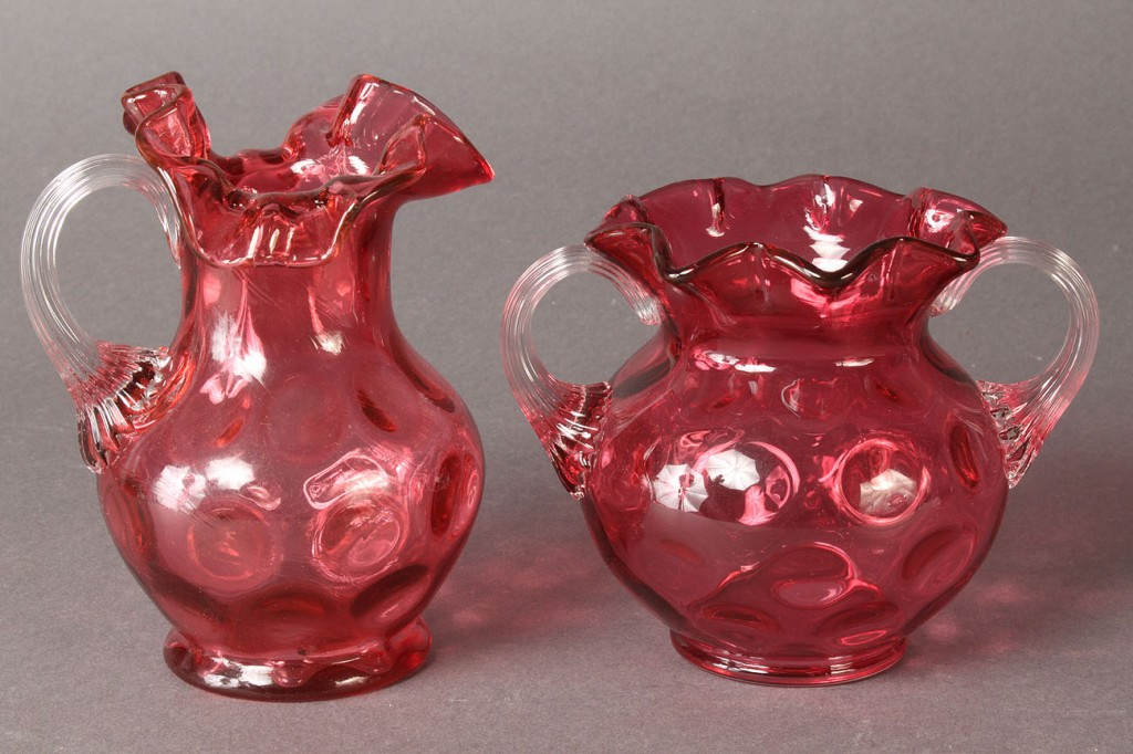Lot 563: 20 pcs Cranberry Thumbprint Glass