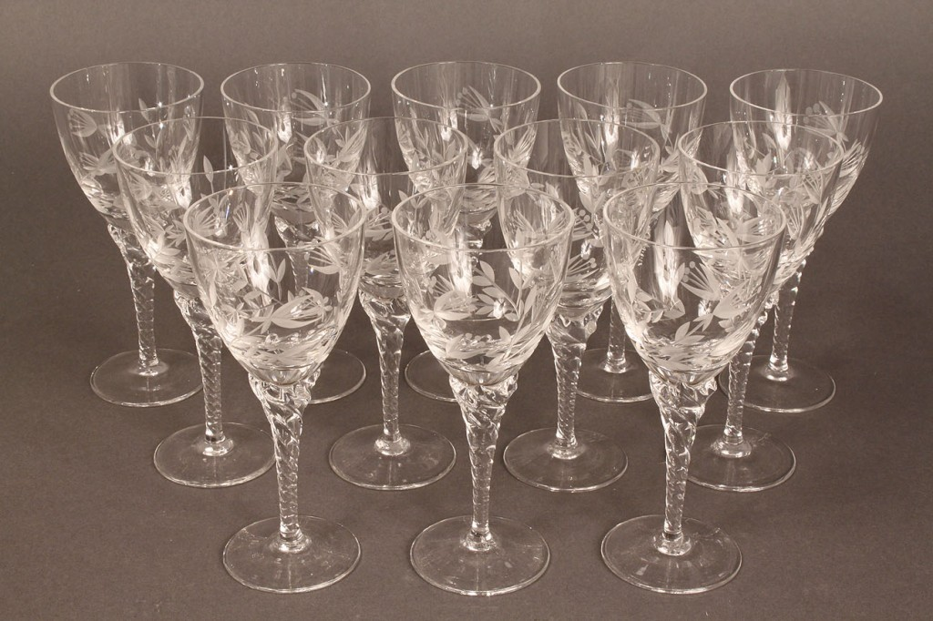 Lot 565: Set of 12 etched goblets
