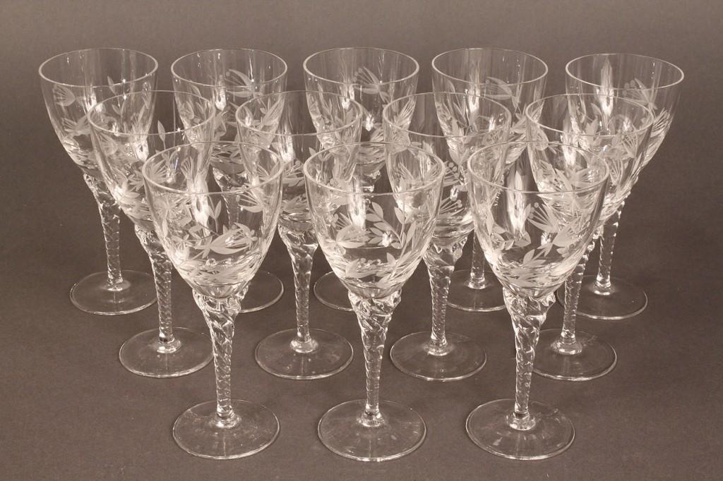 Lot 565: Set of 12 etched goblets