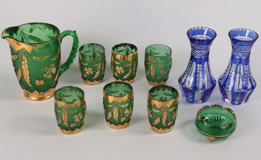Lot 566: Victorian lemonade set & Pr. Cobalt vases