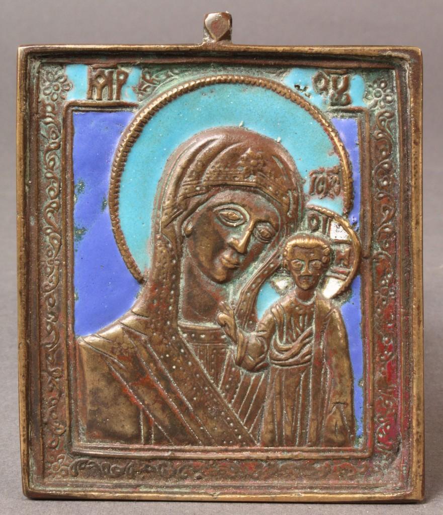 Lot 567: Russian Bronze & Enamel Traveling Icon, 19th c.