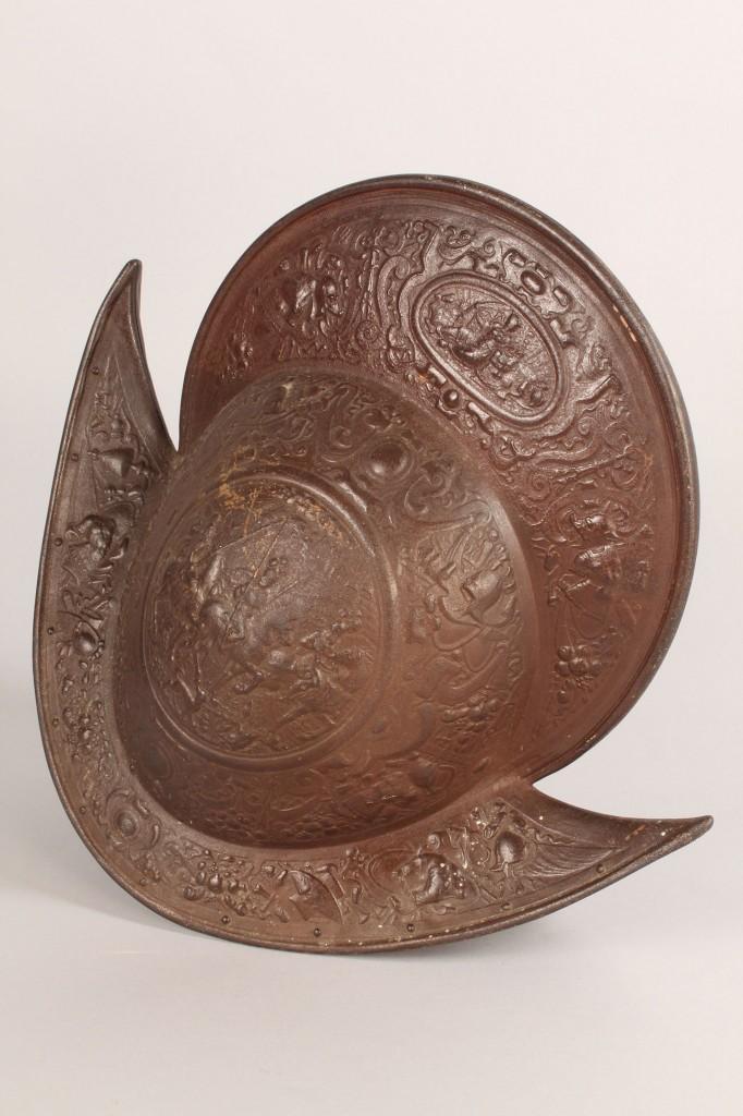 Lot 569: 19th c. repro. Morian Helmet & Pr. metal figures