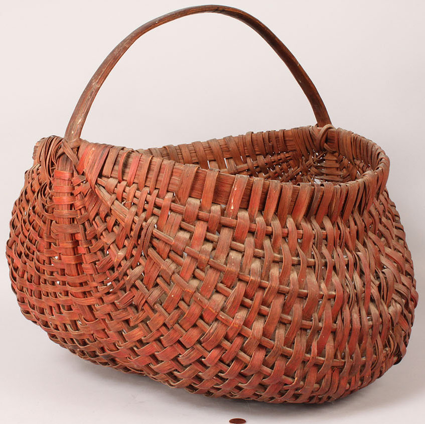 Lot 56: Red Painted Large Buttocks Basket, Southern