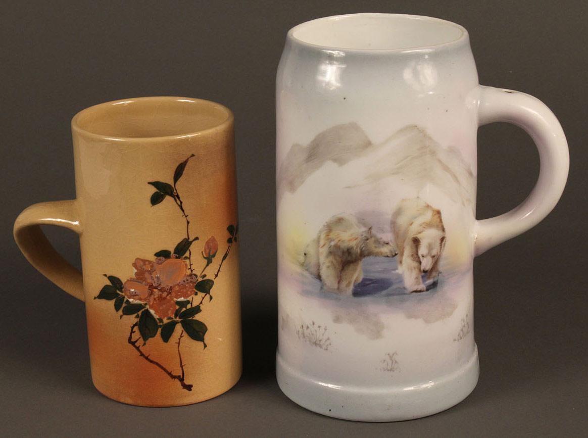 Lot 571: Lot of 2 Pottery Mugs