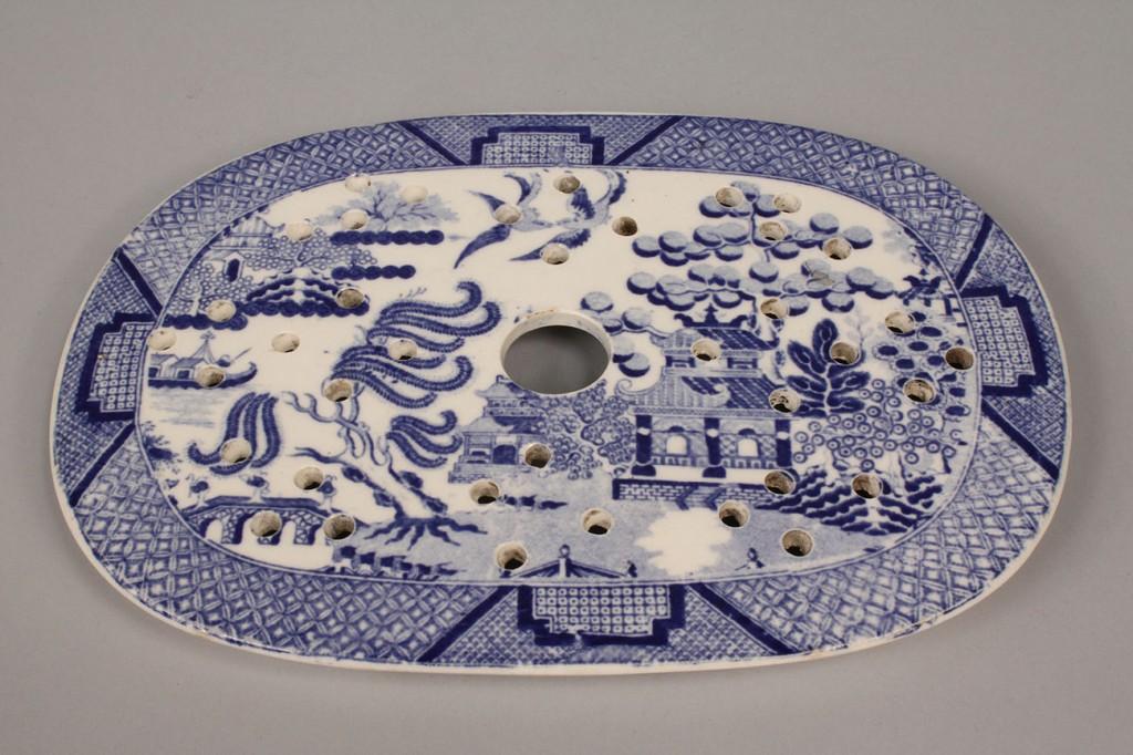 Lot 573: Ironstone Transfer Blue & White, Platter and Strai