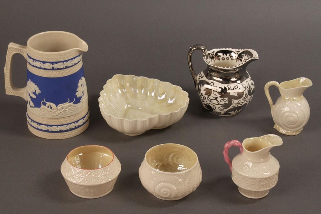 Lot 574: Assorted Belleek; Spode Pitcher; Wedgewood Creamer