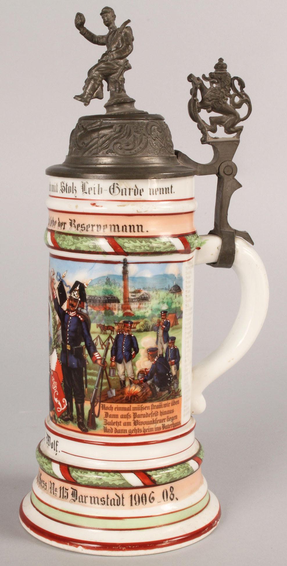 Lot 583: German Regimental Stein with Lithopane base