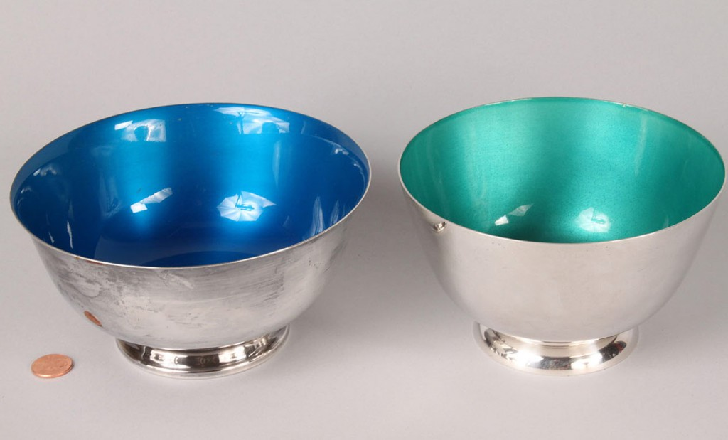 Lot 597: Two enameled Revere bowls