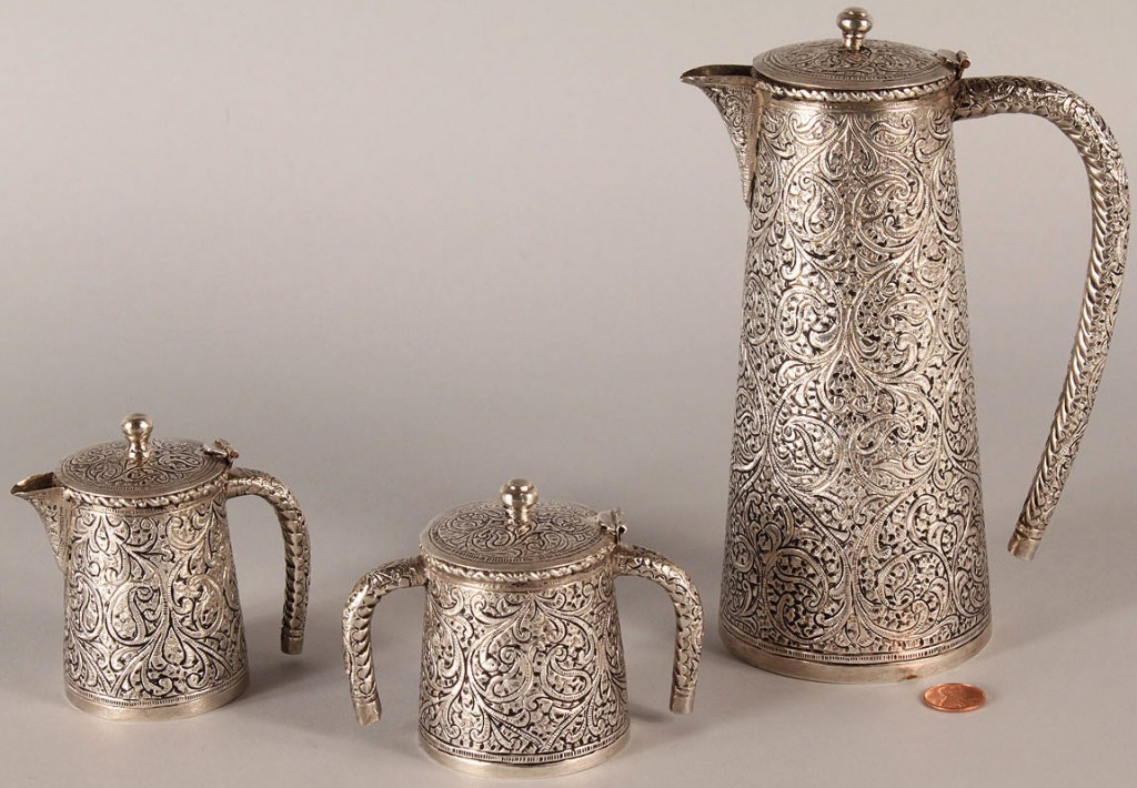 Lot 602: Persian Silver Tea Service, 3 pieces