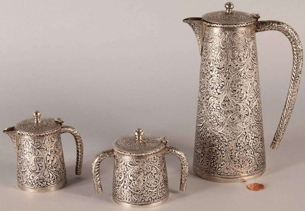 Lot 602: Persian Silver Tea Service, 3 pieces