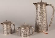 602: Persian Silver Tea Service, 3 pieces