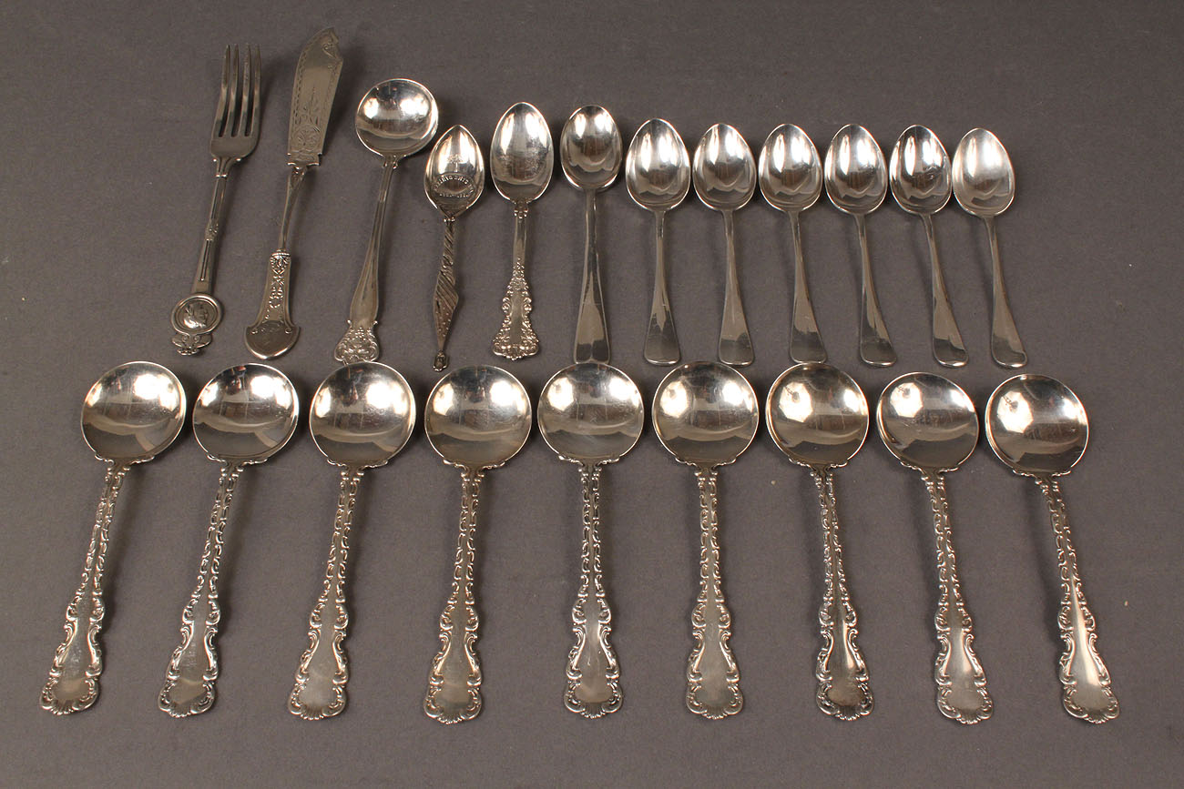 Lot 603 Assorted Sterling Silver Flatware Inc Medallion P