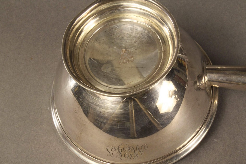 Lot 611: Sterling Silver Sauce Pourer with Saucer & 2 Sterl