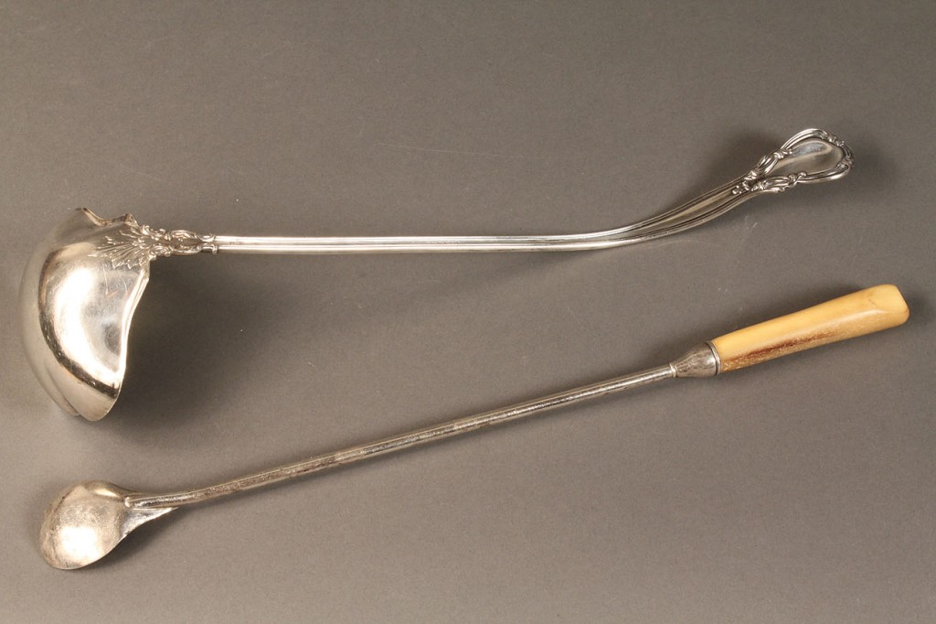 Lot 612: Silver and bone claret spoon and sterling ladle