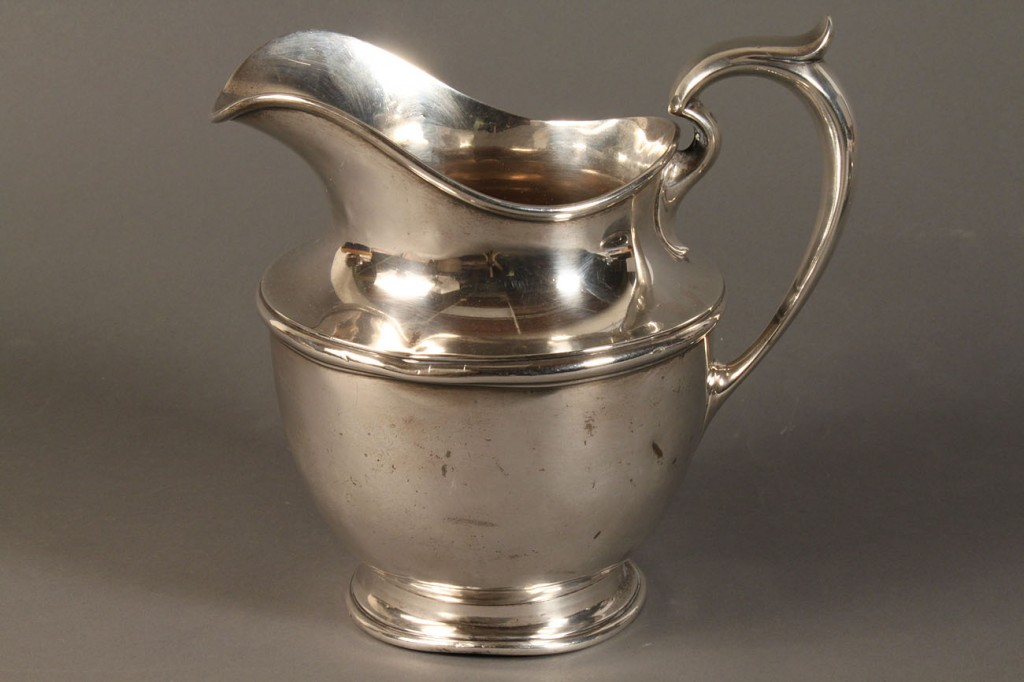 Lot 613: Gorham sterling pitcher and 2 plates