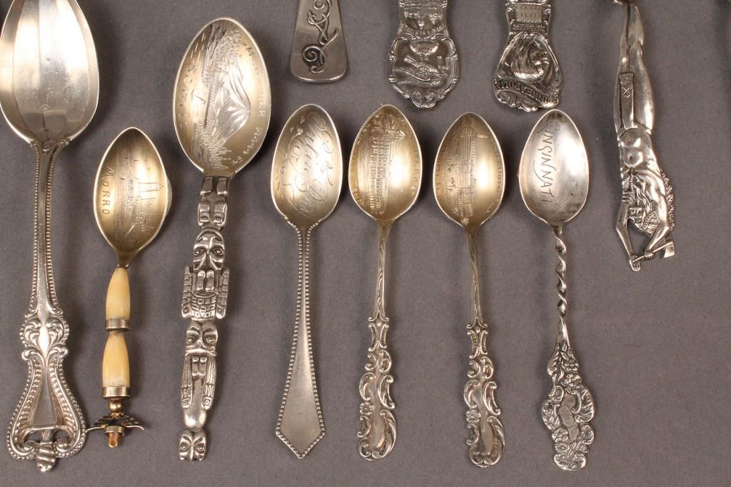 Lot 614: Sterling Silver souvenir spoons & teaspoons