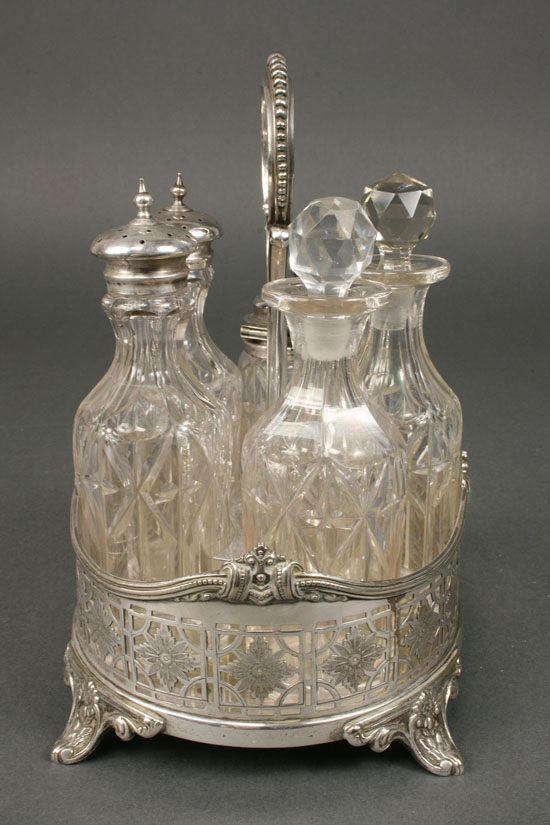 Lot 624: Silver and Glass Condiment Servers