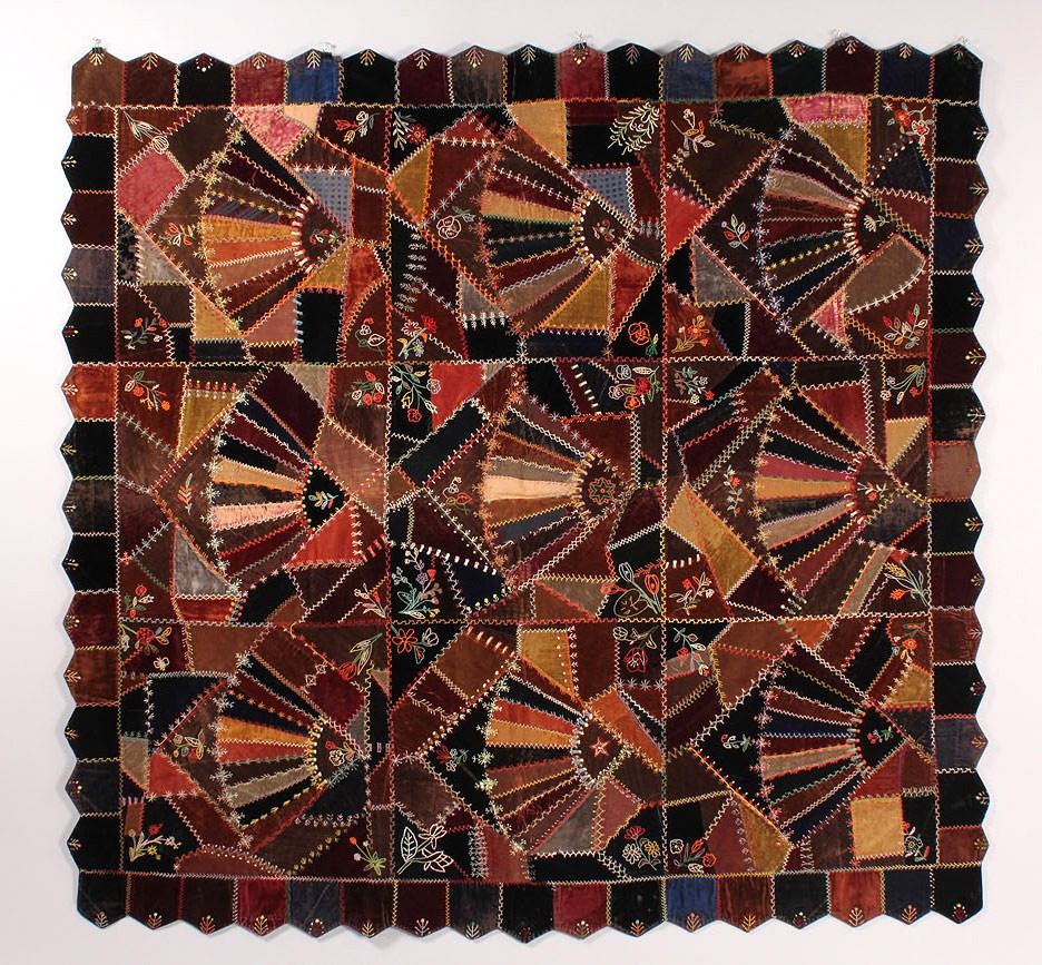 Lot 636: Victorian Fan Crazy Quilt